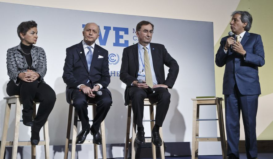 "From left, United Nations climate chief Christiana Figueres, French Foreign Minister Laurent Fabius, U.N. delegate Janos Pasztor and Minister of Environment of Peru, Manuel Pulgar Vidal, attend the""Action Day"", while , 2nd right, sit next to him at the COP21, United Nations Climate Change Conference,  in Le Bourget north of Paris, Saturday, Dec. 5, 2015. President Francois Hollande is encouraging mayors of the world to get involved in fighting climate change and praising those that are already setting an example with low-emission buildings and public transport policies. United Nations climate chief Christiana Figueres, (AP PhotoMichel Euler)"