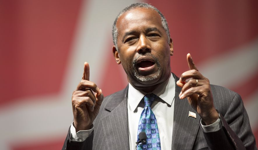 Republican presidential candidate Ben Carson speaks Saturday, Dec. 5, 2015, during the Rising Tide Summit in Cedar Rapids, Iowa. (AP Photo/Scott Morgan) ** FILE **