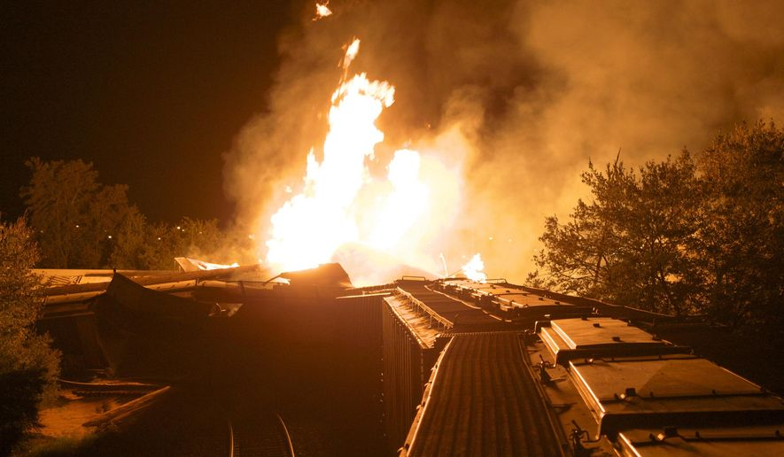 FILE -In this Wednesday, July 11, 2012, file photo, flames rise from a derailed freight train in Columbus, Ohio. A little-known truth about North American railroads: No rules govern when rail becomes too worn down. Since 2000, U.S. officials blamed rail wear as the direct cause of 111 derailments causing $11 million in damage. (AP Photo/Chris Mumma, File)