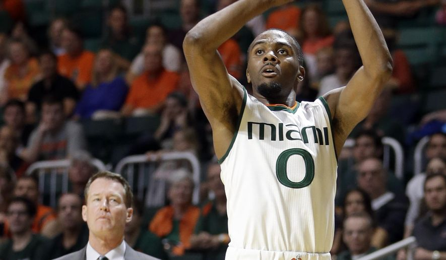 Miami guard Ja'Quan Newton (0) prepares to shoot against Charlotte during the first half of an NCAA college basketball game, Saturday, Dec. 5, 2015, in Coral Gables, Fla. (AP Photo/Alan Diaz)