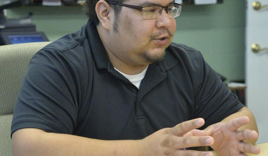 ADVANCE FOR THE WEEKEND OF DEC. 5-6 AND THEREAFTER - In a Nov. 18, 2015 photo, Lewis St. Cyr talks about the Ho Chunk Renaissance language program in Winnebago, Neb. The importance of language is one of the driving forces behind the Ho-Chunk Tribe, also known as the Winnebago Tribe of Nebraska, seeking to revitalize its language and see it spoken by more people, part of what is called the Ho-Chunk Renaissance. The language project currently is being taught in various schools with ties to the tribe. (Jake Wragge/Norfolk Daily News via AP)