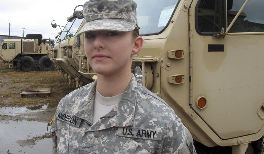 In this Dec. 3, 2015, photo, Vermont National Guard Spc. Skylar Anderson, the first female in the Army to qualify as a combat engineer, poses at Camp Johnson in Colchester, Vt. Anderson said she didn't know when she started the training course to become a combat engineer that she would be the first female to graduate. The military has opened up a number of combat jobs to women that were once reserved for men only. (AP Photo/Wilson Ring)