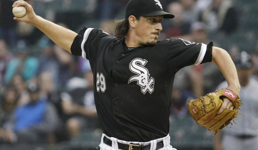 FILE - In this Aug. 29, 2015, file photo, Chicago White Sox starter Jeff Samardzija throws against the Seattle Mariners during the first inning of a baseball game, in Chicago. Free-agent pitcher Jeff Samardzija has agreed to a $90 million, five-year contract with the San Francisco Giants, who lost out on Zack Greinke a day earlier. The team said Saturday, Dec. 5, 2015, that before an announcement can be made Samardzija must pass a physical that is set for Tuesday. (AP Photo/Nam Y. Huh, File)