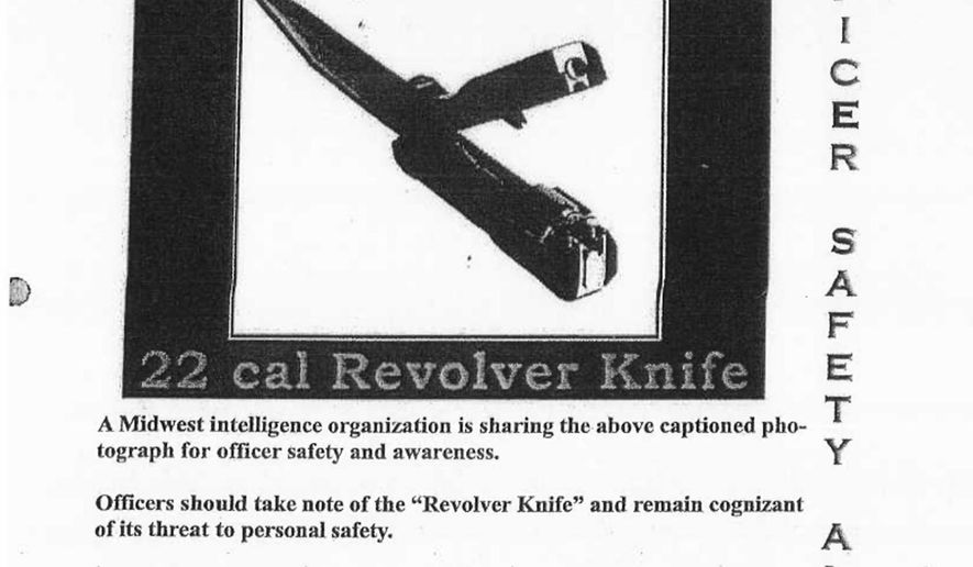 """This image provided by the Chicago Police Department shows an officer safety alert flyer the department issued in 2012 regarding a knife that's really a gun. On Friday, Dec. 4, 2015, the city of Chicago released more than 300 pages of police reports into the shooting death of Laquan McDonald by Officer Jason Van Dyke. Tucked into the reports is the December 2012 bulletin that warns officers about a """"revolver knife,"""" as well as a mention that Van Dyke remembered the bulletin. (Courtesy of the Chicago Police Department via AP)"""