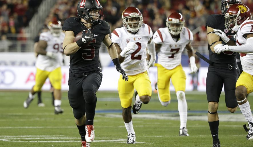 Stanford running back Christian McCaffrey (5) runs against Southern California during the first half of a Pac-12 Conference championship NCAA college football game Saturday, Dec. 5, 2015, in Santa Clara, Calif. (AP Photo/Marcio Jose Sanchez)