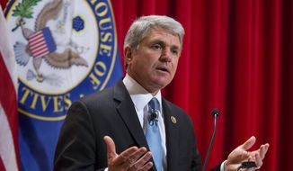 """House Homeland Security Committee Chairman Mike McCaul, R-Texas, delivers a """"State of Homeland Security"""" address on the war with Islamic State, the rise of radicalism, and the terror threat to the U.S., at the National War College at Fort McNair, in Washington, Monday, Dec. 7, 2015. McCaul wants to create a national commission on security and technology to deal with the proliferation of encrypted technologies that allow terrorists to communicate without detection. (AP Photo/J. Scott Applewhite)"""