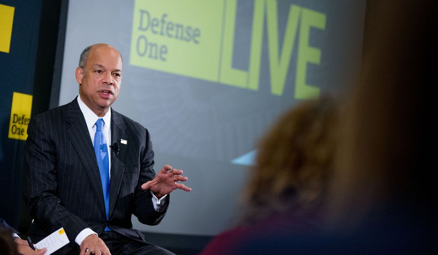"Secretary of Homeland Security Jeh Johnson speaks at a Defense One ""leadership briefing"" in Washington, Monday, Dec. 7, 2015, on the agency's efforts to tackle growing terrorism threats in the U.S. and abroad. (AP Photo/Andrew Harnik)"