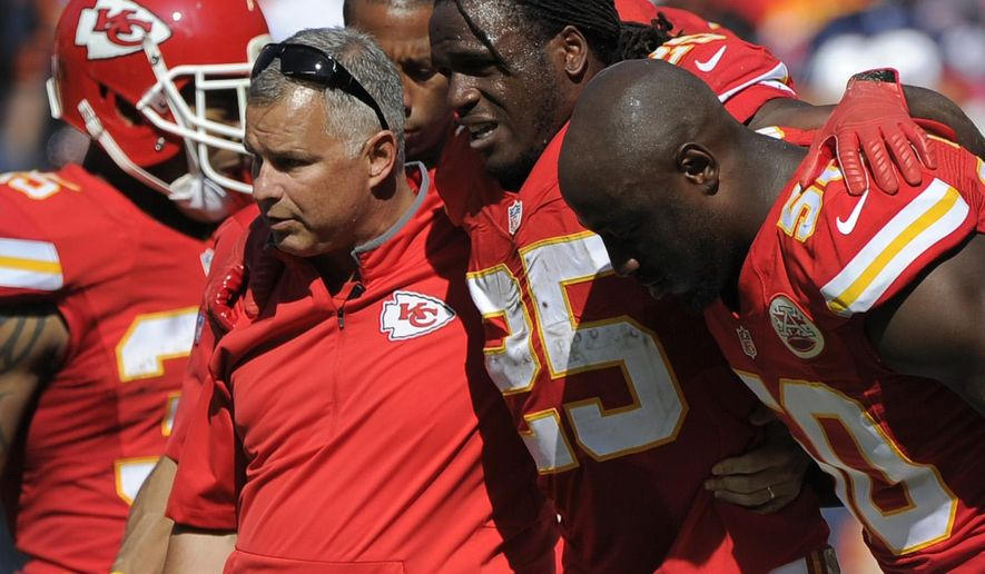 FILE - In this Oct. 11, 2015, file photo, Kansas City Chiefs running back Jamaal Charles (25) is helped off the field after an injury in the second half of an NFL football game against the Chicago Bears in Kansas City, Mo. For the second time in five seasons, one of the most dynamic players in the NFL tore the ACL in his knee. He was done for the year, and now faced the prospect of another round of grueling rehabilitation. (AP Photo/Ed Zurga, File)