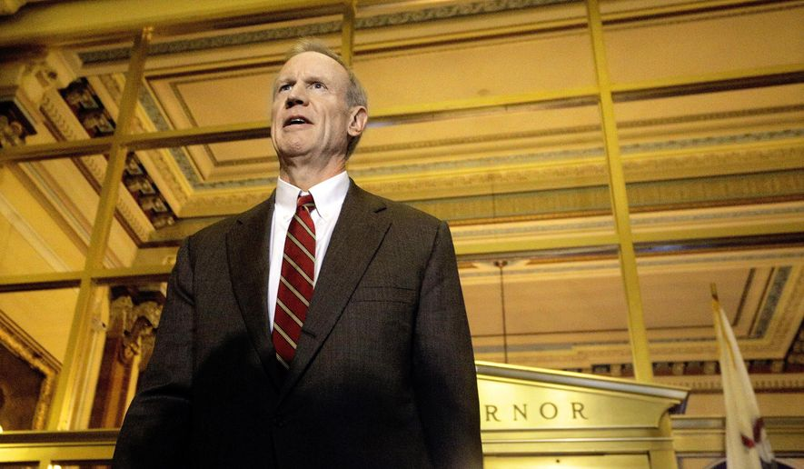 In this Wednesday, Dec. 2, 2015, photo, Illinois Gov. Bruce Rauner speaks to reporters outside his office at the Illinois State Capitol in Springfield, Ill. The Republican governor compromised with legislative Democrats to free up already collected tax revenue owed to local governments even as icy relations continue between the two sides. (AP Photo/Seth Perlman)