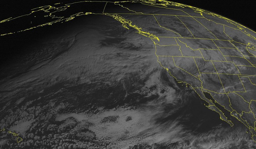 This NOAA satellite image taken Monday, Dec. 7, 2015, at 1:00 PM EDT shows an area of low pressure over the Pacific Northwest. (Weather Underground via AP) ** FILE **