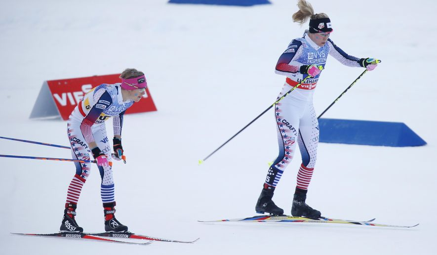 Jessica Diggins and Elizabeth Stephen from the American team in action during the World Cup 4x5 km relay, in Lillehammer, Norway, Sunday Dec. 6, 2015. (Cornelius Poppe/NTB scanpix via AP)  NORWAY OUT