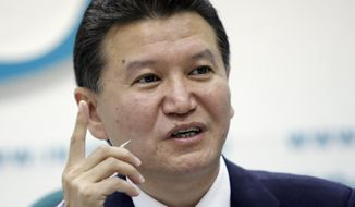 Kirsan Ilyumzhinov, president of the World Chess Federation, speaks during a news conference in Moscow on June 14, 2011. (Associated Press) **FILE**