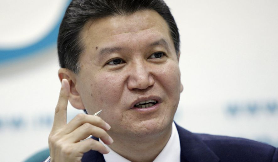 FILE - In this file photo taken on Tuesday, June  14, 2011, Kirsan Ilyumzhinov, president of the World Chess Federation, speaks during a news conference in Moscow, Russia. The longtime head of the World Chess Federation has asked the federation's presidential council to suspend his authority temporarily. (AP Photo/Alexander Zemlianichenko, File)