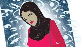 Illustration on Muslim religious garb by Linas Garsys/The Washington Times