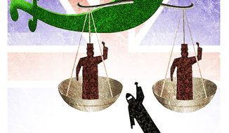 Illustration on Shariah law courts in England by Alexander Hunter/The Washington Times