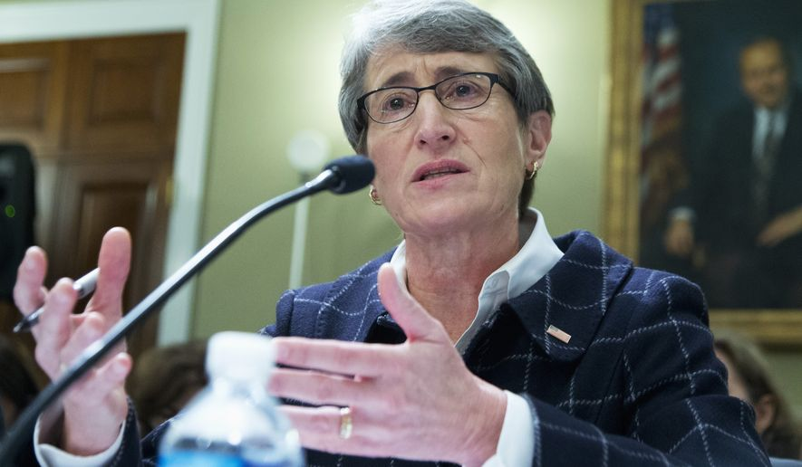Interior Sally Jewell testifies on Capitol Hill in Washington, Wednesday, Dec. 9, 2015, before the House Natural Resources Oversight Committee hearing on the Animas River Spill in Colorado.  (AP Photo/Manuel Balce Ceneta)