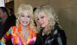 "Dolly Parton and sister Stellar Parton at the premiere of ""Coat of Many Colors"" in Los Angeles.  (Dave Kapp)"