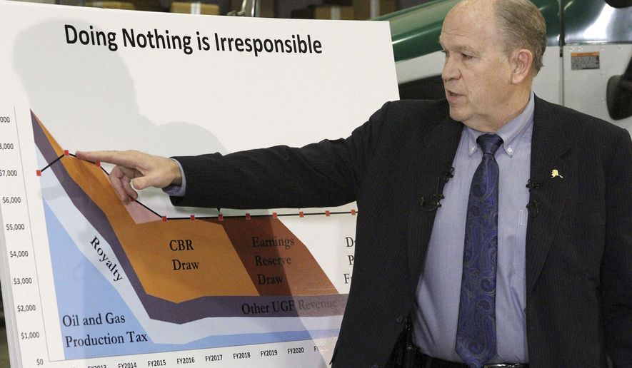 Alaska Gov. Bill Walker speaks at a news conference on Wednesday, Dec. 9, 2015, in Anchorage, Alaska. Walker unveiled his plan to close a $3.5 billion gap in the state budget, including instituting a state income tax for the first time since 1980. (AP Photo/Mark Thiessen)