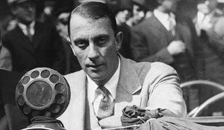 FILE - In this Oct. 4, 1928, file photo, Graham McNamee calls the opening game of the World Series between St. Louis and New York at Yankee Stadium in New York. Graham McNamee has won the Ford C. Frick Award for excellence in baseball broadcasting. Baseball's Hall of Fame made the announcement Wednesday, Dec. 9, 2015. McNamee is the 40th winner of the Frick Award. He will be honored during the Hall of Fame awards presentation on July 23 in Cooperstown, New York. (AP Photo/File)