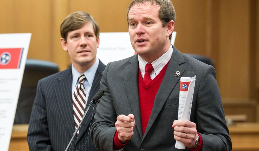FILE - In this Feb. 2, 2015, file photo, state Rep. Jeremey Durham, R-Franklin, speaks at a news conference at the legislative office complex in Nashville, Tenn., while Sen. Brian Kelsey, R-Germantown, left, looks on. A drug task force in 2013 sought prescription fraud charges against Durham, but a grand jury declined to allow the case to move forward. (AP Photo/Erik Schelzig, file)