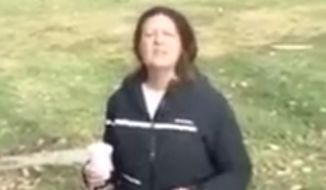 Denise Slader, a California Department of Corrections employee of 10 years, is being investigated for a possible hate crime after she was caught on video berating two Muslim men praying in a park. (Facebook/@Rasheed Albeshari)