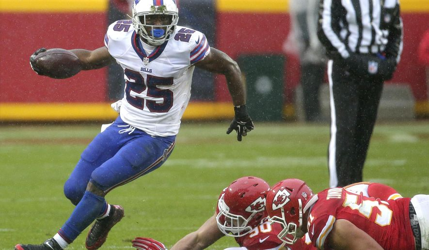 FILE - In this Nov. 29, 2015 file photo, Buffalo Bills running back LeSean McCoy (25) runs past tackle-attempts by Kansas City Chiefs linebackers Josh Mauga (90) and Frank Zombo (51) during the first half of an NFL football game in Kansas City, Mo. The Bills play the Eagles at Philadelphia on Sunday, Dec. 13.  (AP Photo/Charlie Riedel, File)