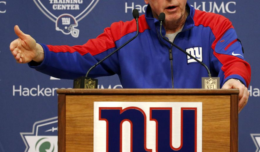 New York Giants head coach Tom Coughlin talks to reporters during NFL football practice, Thursday, Dec. 10, 2015, in East Rutherford, N.J. (AP Photo/Julio Cortez)