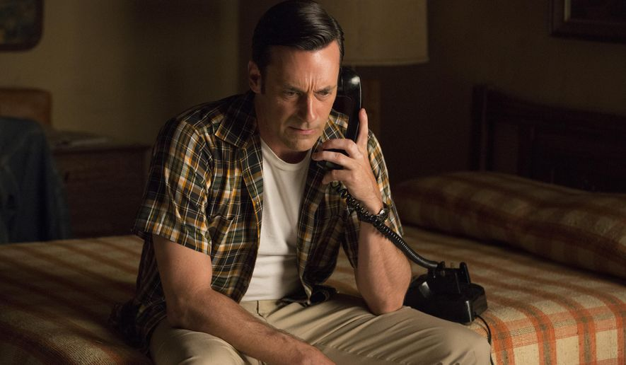 """In this image released by AMC, Jon Hamm portrays Don Draper in a scene from """"Mad Men."""" The 73rd annual Golden Globe nominations in film and television categories will be announced Thursday morning, Dec. 10, 2015, in Beverly Hills, Calif.   (Michael Yarish/AMC via AP)"""