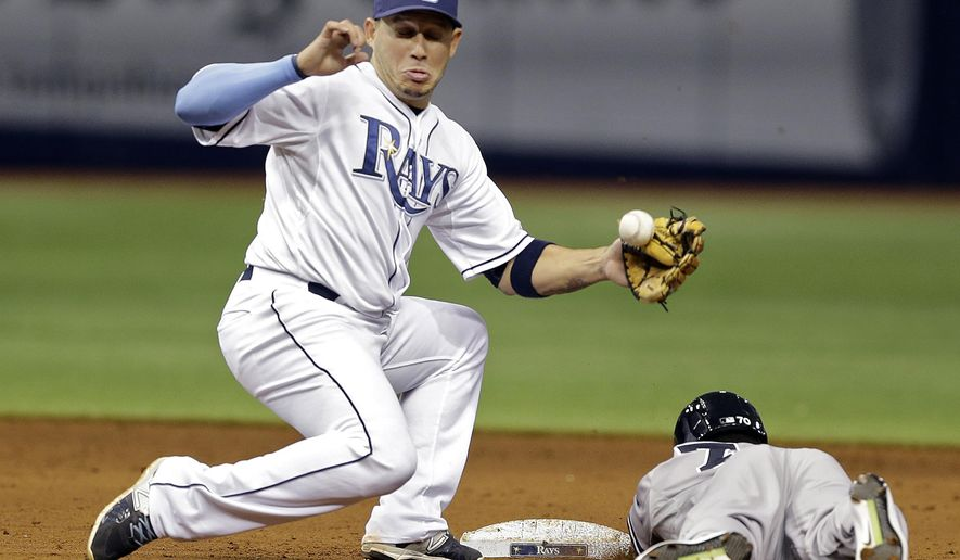FILE - In this Sept. 14, 2015 file photo, Tampa Bay Rays shortstop Asdrubal Cabrera, left, can't hang onto the ball as New York Yankees' Rico Noel steals second base during the eighth inning of a baseball game, in St. Petersburg, Fla. A person familiar with the deal tells The Associated Press free-agent shortstop Cabrera and the New York Mets have agreed to a two-year, $18.5 million contract. (AP Photo/Chris O'Meara, File)