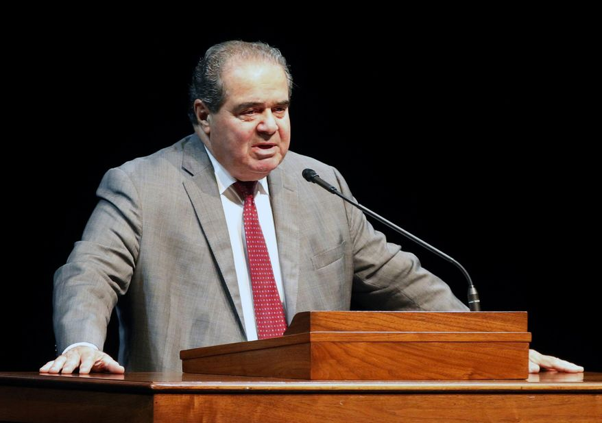 Supreme Court Justice Antonin Scalia speaks at the University of Minnesota in Minneapolis, in this Oct. 20, 2015, file photo. (AP Photo/Jim Mone, File)