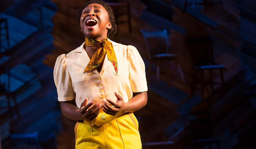 "In this 2015 photo provided by Polk and Co., Cynthia Erivo, as Celie, performs in ""The Color Purple,"" the musical adaptation of Alice Walker's Pulitzer Prize-winning tale of female empowerment. (Matthew Murphy/Polk and Co. via AP)"