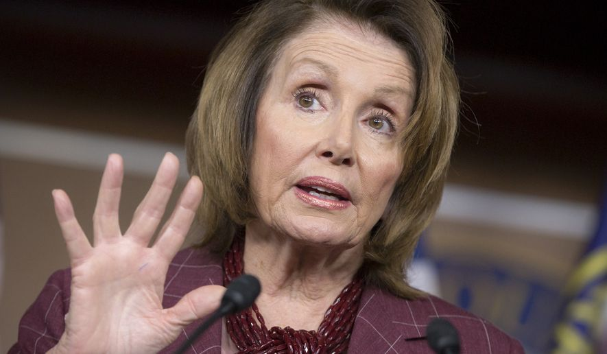 House Minority Leader Nancy Pelosi, California Democrat, updates reporters as Congress works to meet deadlines for funding the government on Capitol Hill on Dec. 11, 2015. (Associated Press) **FILE**