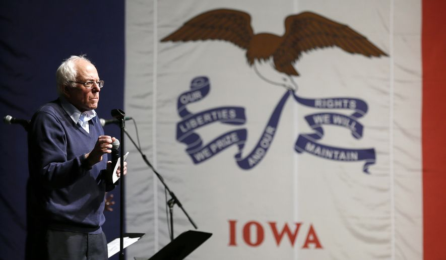 In this Oct. 23, 2015, file photo, Democratic presidential candidate, Sen. Bernie Sanders, I-Vt., speaks during a concert hosted by his campaign in Davenport, Iowa. (AP Photo/Charlie Neibergall, File)