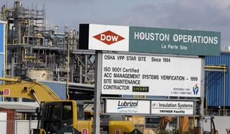 This Thursday, Dec. 10, 2015, photo shows a Dow Chemical plant in La Porte, Texas. Dow Chemical and the DuPont will attempt to merge in an all-stock deal that would create a colossal chemical producer worth $130 billion, before splitting into three separate companies. The deal announced Friday, Dec. 11, 2015, is being billed a merger of equals, to be called DowDuPont. (AP Photo/Pat Sullivan)