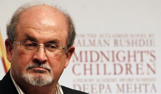 """Author Salman Rushdie attends a promotional event of """"Midnight's Children"""" in Mumbai, India, in this Jan. 29, 2013, file photo. (AP Photo/Rajanish Kakade, File)"""