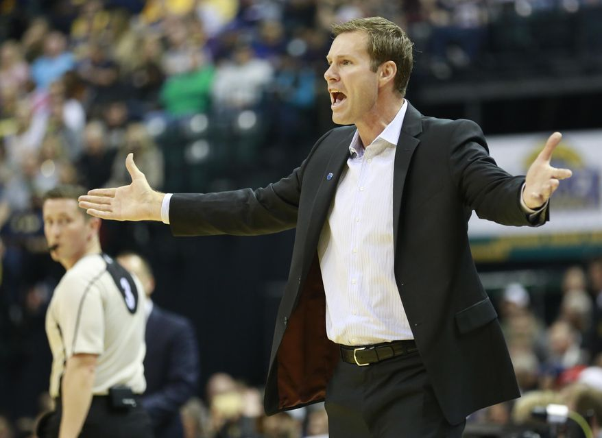 FILE - In this Nov. 27, 2015 file photo, Chicago Bulls head coach Fred Hoiberg complains about an official's call in the second half of an NBA basketball game against the Indiana Pacers in Indianapolis. As an assistant coach at Iowa State all those years ago, Chicago Bulls general manager Gar Forman figured big things were in store for Hoiberg. In his first year coaching in Chicago, Hoiberg is trying to get the most out of a veteran Bulls team with high expectations and - so far - mixed results at best. (AP Photo/R Brent Smith, File)