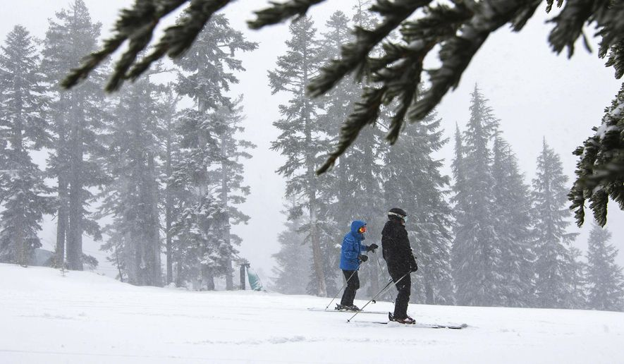 In this photo provided by the Northstar California Resort, skiers make their way down a run at the Northstar California Resort Thursday, Dec. 10, 2015, in Truckee, Calif. It's shaping up as the biggest snowstorm to hit the central Sierra in two years. The National Weather Service expects 2 to 3 feet of snow will fall on the highest peaks overlooking Lake Tahoe. At lake level, near Tahoe City, forecasters predict 8 to 16 inches of snow. California still needs a lot of snow and rain. After four years of drought, its reservoirs are dry: Folsom Lake last week hit its lowest point since record-keeping began 40 years ago. (Northstar California Resort via AP)