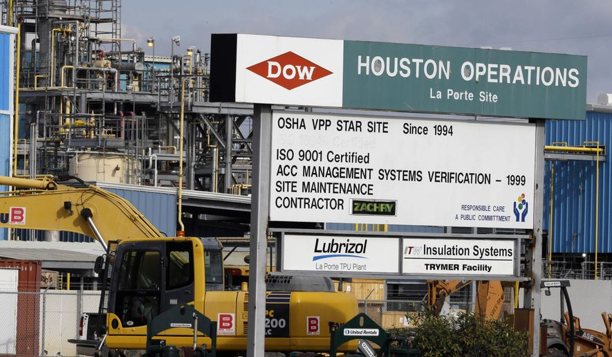 This Thursday, Dec. 10, 2015 photo shows a Dow Chemical plant in La Porte, Texas.  Dow Chemical and the DuPont will attempt to merge in an all-stock deal that would create a colossal chemical producer worth $130 billion, before splitting into three separate companies. The deal announced Friday, Dec. 11, 2015 is being billed a merger of equals, to be called DowDuPont. (AP Photo/Pat Sullivan)