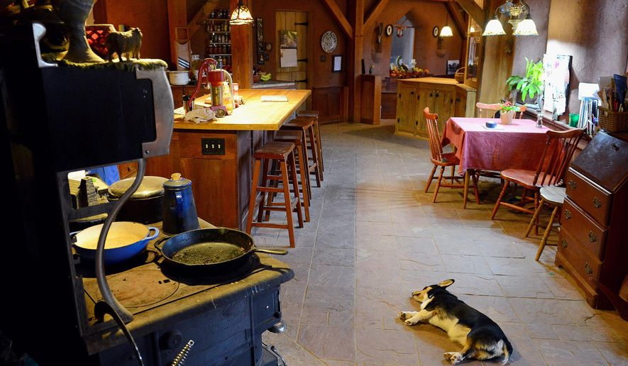 ADVANCE FOR USE MONDAY, DEC. 14 - In this photo taken Nov. 18, 2015, one of the Trumpey's six dogs lounges in front of the wood-fired stove inside the Trumpey's straw bale house at the Sandy Acres Farm homestead in Grass Lake, Mich. (Dave Wasinger/Lansing State Journal via AP)  NO SALES; MANDATORY CREDIT.
