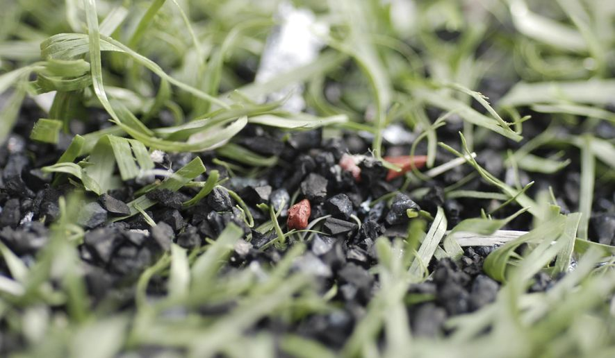Small pebbles are visible through the turf at Aloha Stadium, Friday, Dec. 11, 2015, in Honolulu. The U.S. women's soccer team canceled an exhibition game at the stadium saying the turf was inadequate. Stadium officials say the field is safe and they have had no previous issues with the turf. (AP Photo/Cathy Bussewitz)