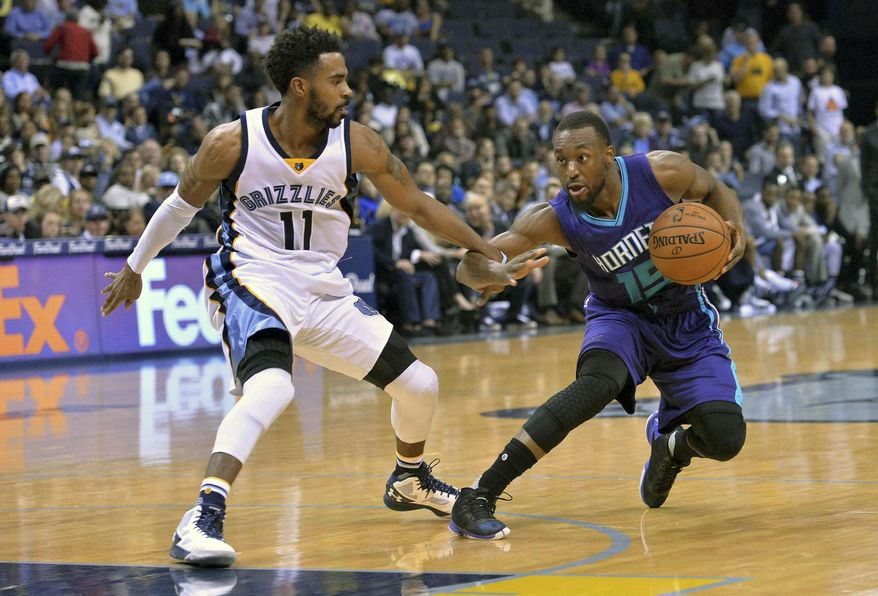 Charlotte Hornets guard Kemba Walker (15) controls the ball against Memphis Grizzlies guard Mike Conley (11) in the first half of an NBA basketball game Friday, Dec. 11, 2015, in Memphis, Tenn. (AP Photo/Brandon Dill)