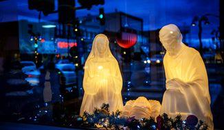 A nativity scene is displayed in Wadena, Minn., Thursday, Dec. 10, 2015. (Glen Stubbe/Star Tribune via AP) ** FILE **