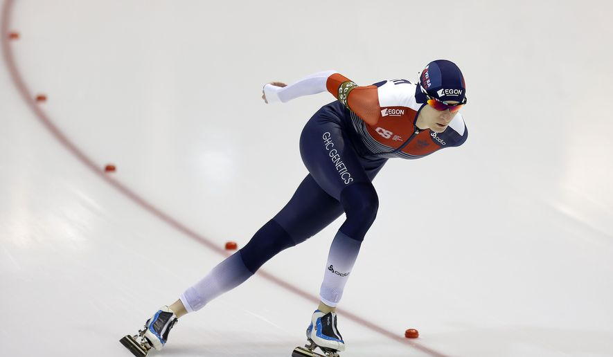 Martina Sablikova of the Czech Republic skates during the 3000 meter race of the Speedskating World Cup in Heerenveen, northern Netherlands, Friday, Dec. 11, 2015. (AP Photo/Peter Dejong)