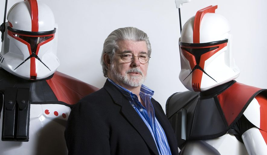 """In this March 13, 2008 photo, director/producer George Lucas poses for portrait in Las Vegas. Dining across the street from Mann's Chinese Theater in Los Angeles the night """"Star Wars"""" came out in 1977, Lucas watched in astonishment as lines spiraled down the block. The movie would set a new opening weekend record. More than 40 weeks - 40 weeks! - later """"Star Wars"""" was still no. 1. The new '""""Star Wars: The Force Awakens"""" directed by J.J. Abrams opens in U.S. theaters on Dec. 18, 2015.  (AP Photo/Matt Sayles, File)"""