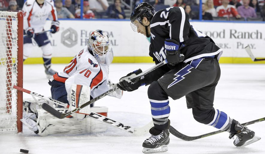 Washington Capitals goalie Braden Holtby (70) makes a pad save on a shot by Tampa Bay Lightning right wing Ryan Callahan (24) during the second period of an NHL hockey game Saturday, Dec. 12, 2015, in Tampa, Fla. (AP Photo/Chris O'Meara)