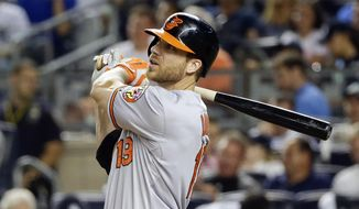 In this Sept. 8, 2015, file photo, Baltimore Orioles' Chris Davis hits a home run during the ninth inning of a baseball game against the New York Yankees in New York. (AP Photo/Frank Franklin II, File)