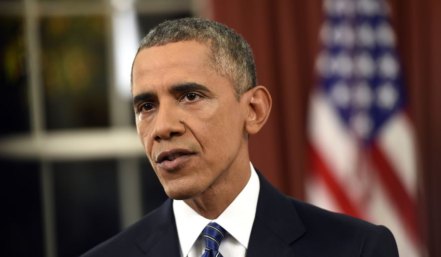 In this Dec. 6, 2015, photo, President Barack Obama addresses the nation from the Oval Office at the White House in Washington. Fears of terrorism are hanging over America's holiday season, and Obama plans a series of events this week aimed at trying to allay concerns about his strategy for stopping the Islamic State group abroad and its sympathizers at home.  (Saul Loeb/Pool Photo via AP) ** FILE **