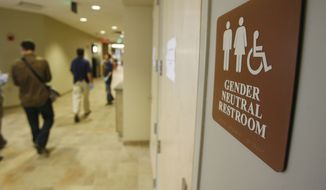 A sign marks the entrance to a gender neutral restroom at the University of Vermont in Burlington, Vt. (Associated Press)