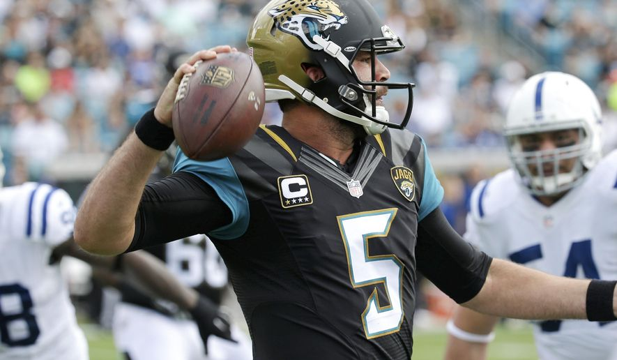 Jacksonville Jaguars quarterback Blake Bortles (5) looks for a receiver as he is pressured by Indianapolis Colts nose tackle David Parry, right, during the first half of an NFL football game in Jacksonville, Fla., Sunday, Dec. 13, 2015.(AP Photo/John Raoux)