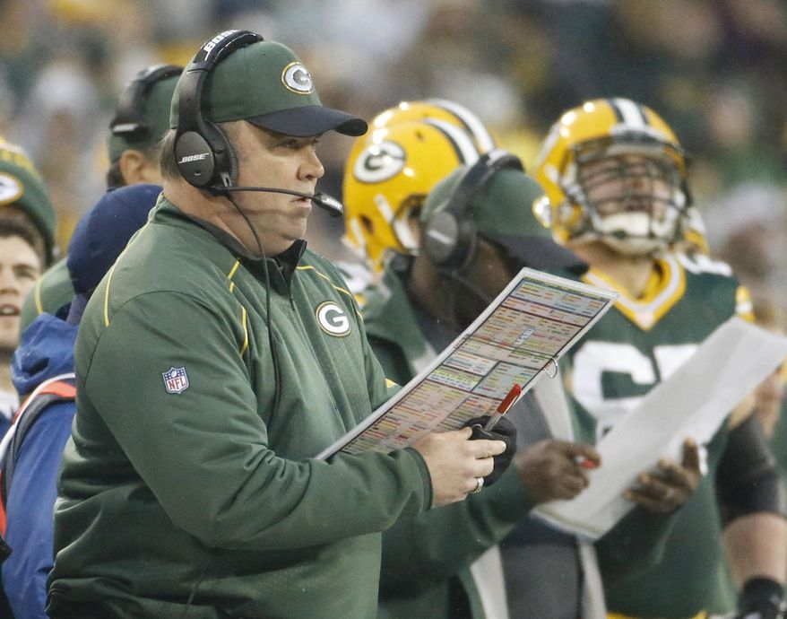 Green Bay Packers head coach Mike McCarthy calls a play during the first half of an NFL football game against the Dallas Cowboys Sunday, Dec. 13, 2015, in Green Bay, Wis. (AP Photo/Morry Gash)